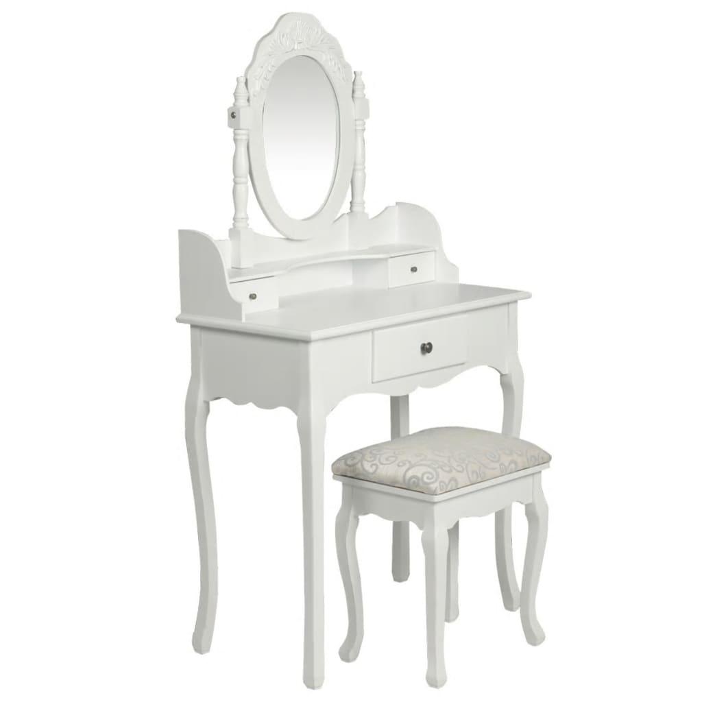 Toaletní stolek se zrcadlem a stoličkou bílý