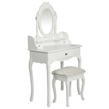 vidaXL Dressing Table with Mirror and Stool White[1/9]