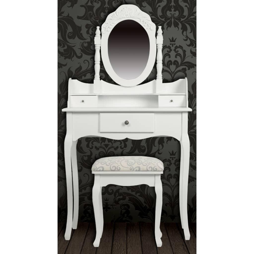 Toilettafel Met Spiegel Wit.Aanbieding Vidaxl Kaptafel Met Spiegel En Krukje Wit Vidaxl Met