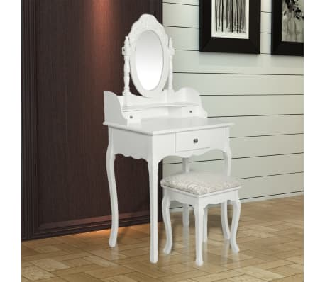 vidaXL Dressing Table with Mirror and Stool White[3/9]