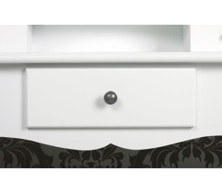 vidaXL Dressing Table with Mirror and Stool White[4/9]