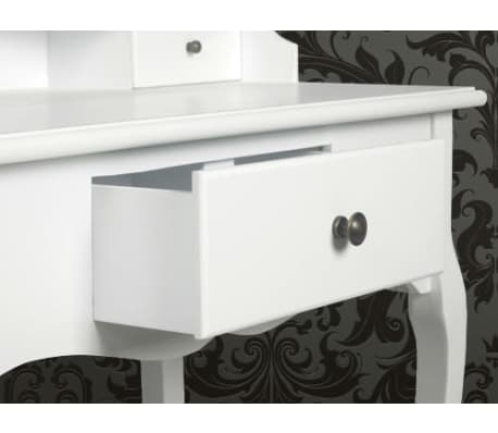 vidaXL Dressing Table with Mirror and Stool White[5/9]