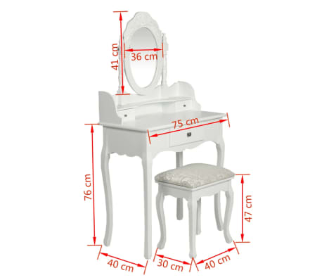vidaXL Dressing Table with Mirror and Stool White[8/9]