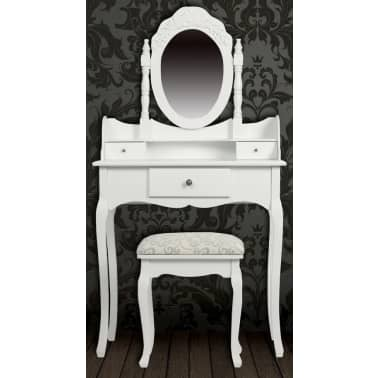 vidaXL Dressing Table with Mirror and Stool White[2/9]