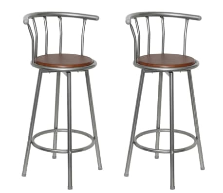 vidaXL Bar Stools 2 pcs Brown Steel[1/5]