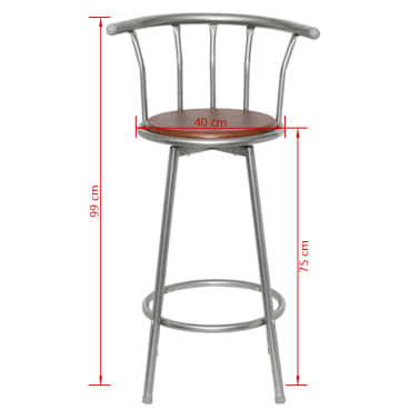 vidaXL Bar Stools 2 pcs Brown Steel[5/5]
