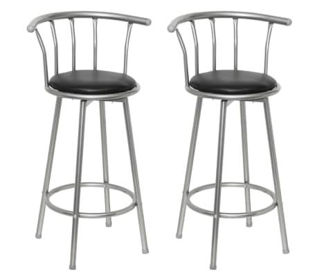 vidaXL Barski stolčki 2 kosa črno umetno usnje