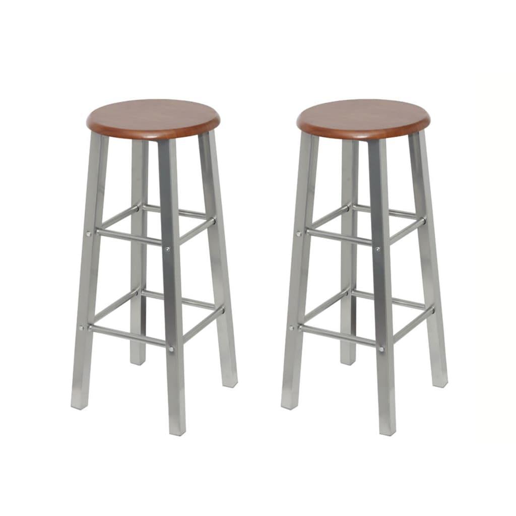 vidaXL Stołki barowe z metalu, siedzisko z MDF, 2 szt.