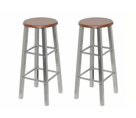 vidaXL Bar Stools 2 pcs Metal with MDF Seat[1/4]