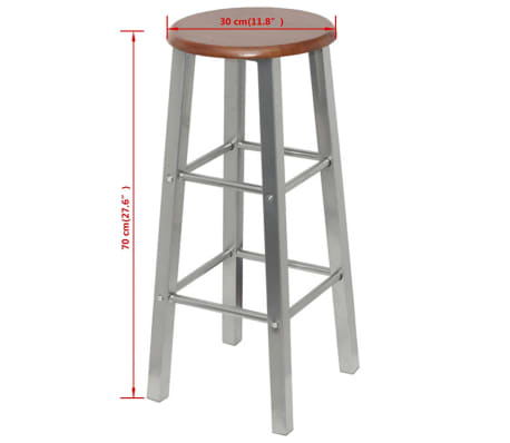vidaXL Bar Stools 2 pcs Metal with MDF Seat[4/4]