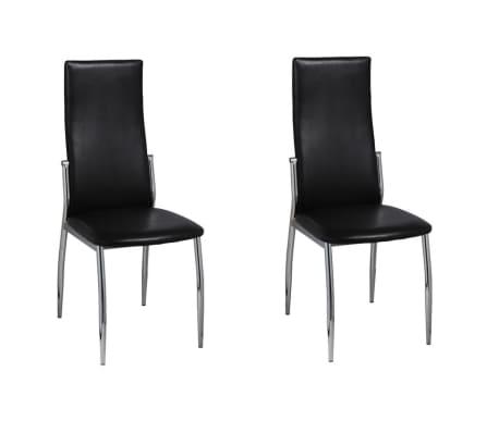 vidaXL Valgomojo kėdės, 2 vnt., juodos, dirbtinė oda
