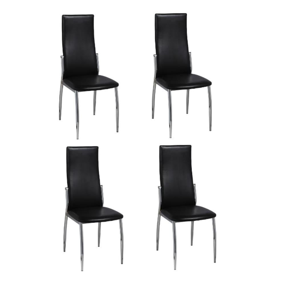 vidaXL Esszimmerstühle 4 Stk. Kunstleder Schwarz