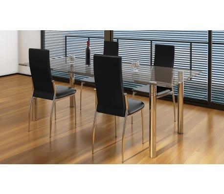 Vidaxl 4 pz set sedie sala da pranzo in pelle sintetica for Ikea sedie nere