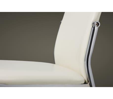 Vidaxl 2 pz sedie sala da pranzo in pelle sintetica bianca for Sedie pelle bianca