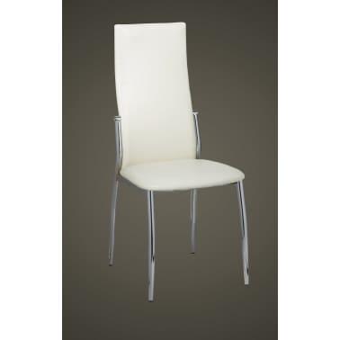 Vidaxl 2 pz sedie sala da pranzo in pelle sintetica bianca for Sedie per sala da pranzo in pelle