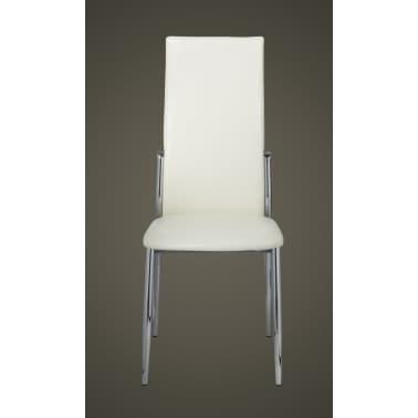 Vidaxl 2 pz sedie sala da pranzo in pelle sintetica bianca for Sedie in pelle bianca