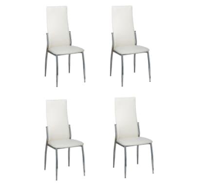 vidaXL Valgomojo kėdės, 4 vnt., baltos spalvos, dirbtinė oda