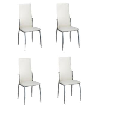Vidaxl 4 pz sedie sala da pranzo in pelle sintetica bianca for Sedie in pelle bianca