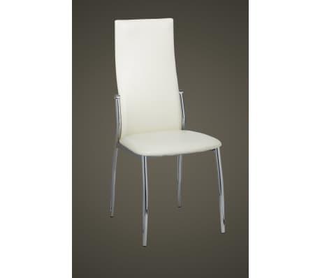 Vidaxl 4 pz sedie sala da pranzo in pelle sintetica bianca for Sedie per sala da pranzo in pelle