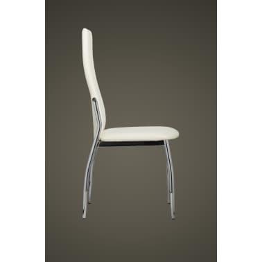 Vidaxl 4 pz sedie sala da pranzo in pelle sintetica bianca for Sedie pelle bianca
