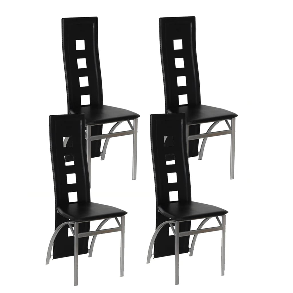 4 jídelní židle ocelové černé
