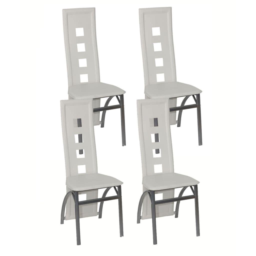4 jídelní židle ocelové bílé