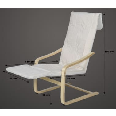 Poltrona Sedia Relax.Poltrona Sedia Relax Poggiapiedi Cotone Bianco Legno Chiaro