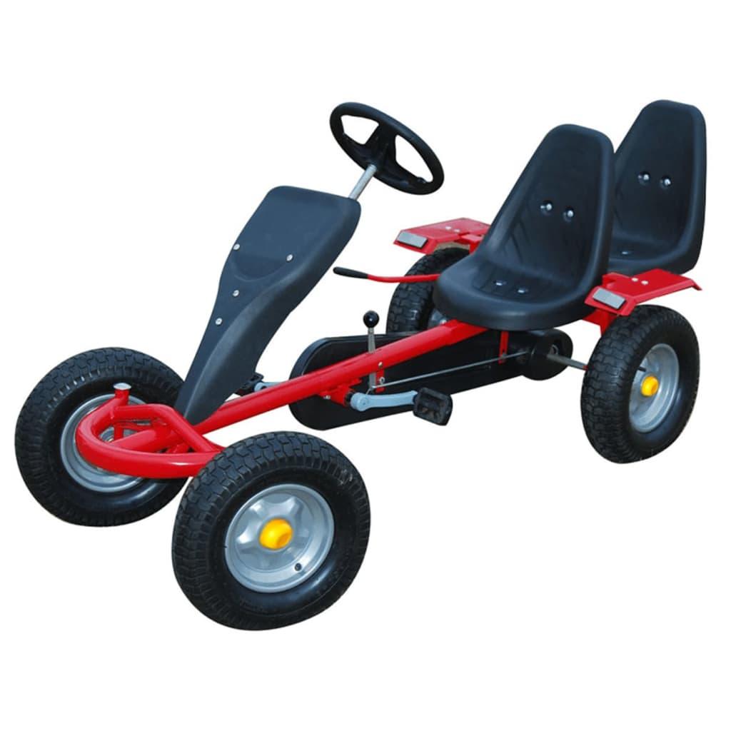 Kart pentru copii cu pedale cu 2 scaune Roșu poza 2021 vidaXL