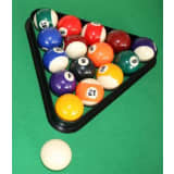 Pool ball set and triangle for billiard table