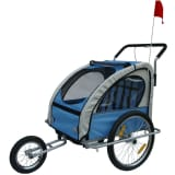 Blue & Grey Childrens Bike Trailer with Shocks