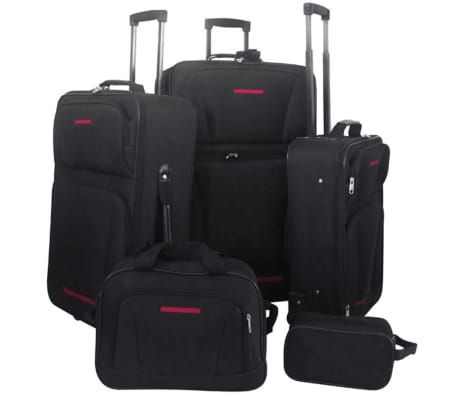 5 Piece Travel Luggage Set Black[1/4]
