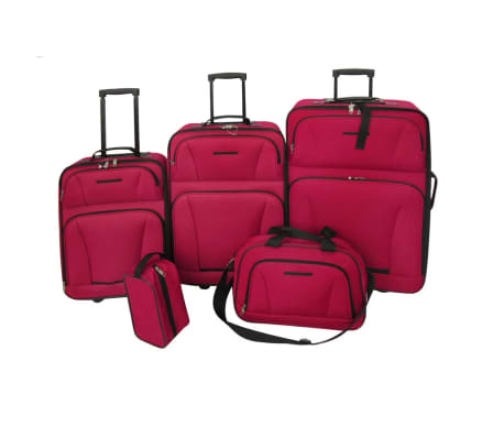 5 Piece Travel Luggage Set (Red)[1/5]