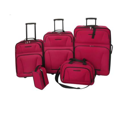 vidaXL 5 dalių kelioninių lagaminų komplektas, raudonas