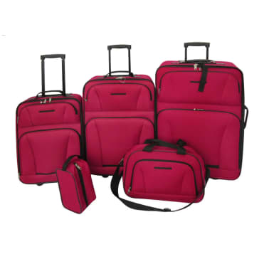 vidaXL Five Piece Travel Luggage Set Red[1/5]