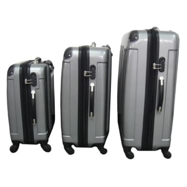 3 piezas set de equipaje gris plástico[1/9]