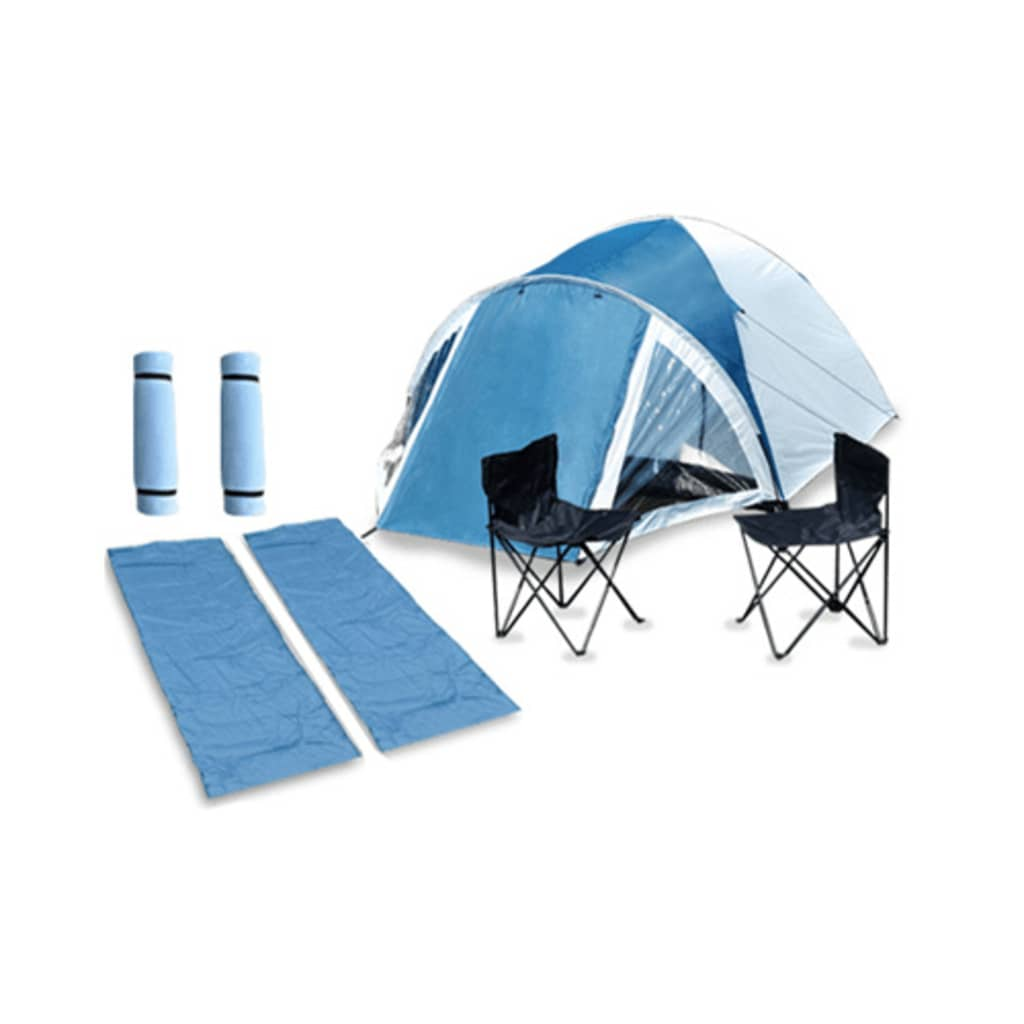 Cort + 2 scaune camping + 2 saci de dormit + 2 saltele set complet vidaxl.ro