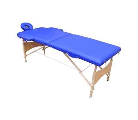 Massageliege 2 Zonen mobile Massagebank Holz Gestell blau günstig ...
