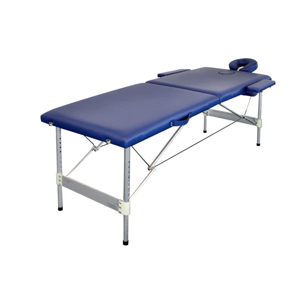 Afbeelding van vidaXL Massagetafel 2 zones vouwbaar aluminium blauw