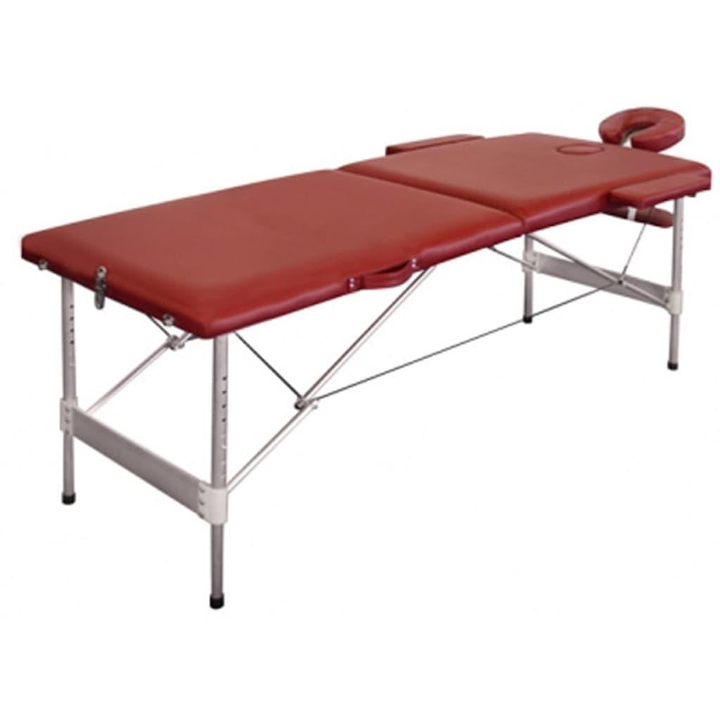 Afbeelding van vidaXL Massagetafel 2 zones vouwbaar aluminium rood