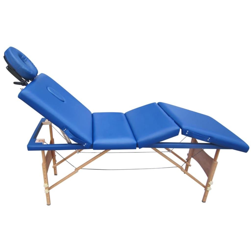 Afbeelding van vidaXL Massagetafel 4 zones vouwbaar hout blauw