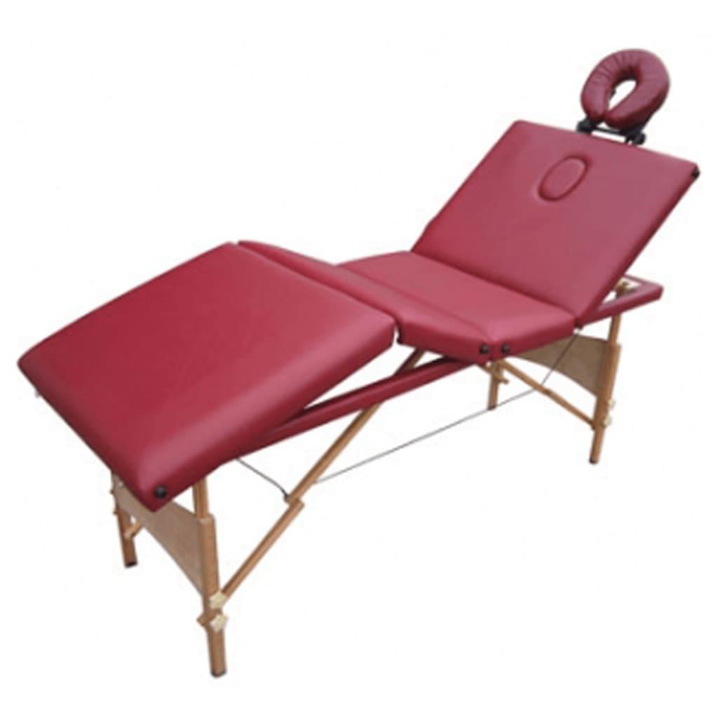 Afbeelding van vidaXL Massagetafel 4 zones vouwbaar hout rood