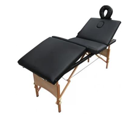 acheter table de massage pliante bois 4 zones noire pas cher. Black Bedroom Furniture Sets. Home Design Ideas