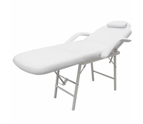 Стол за процедури с регулируема облегалка и поставка за крака, бял[2/6]