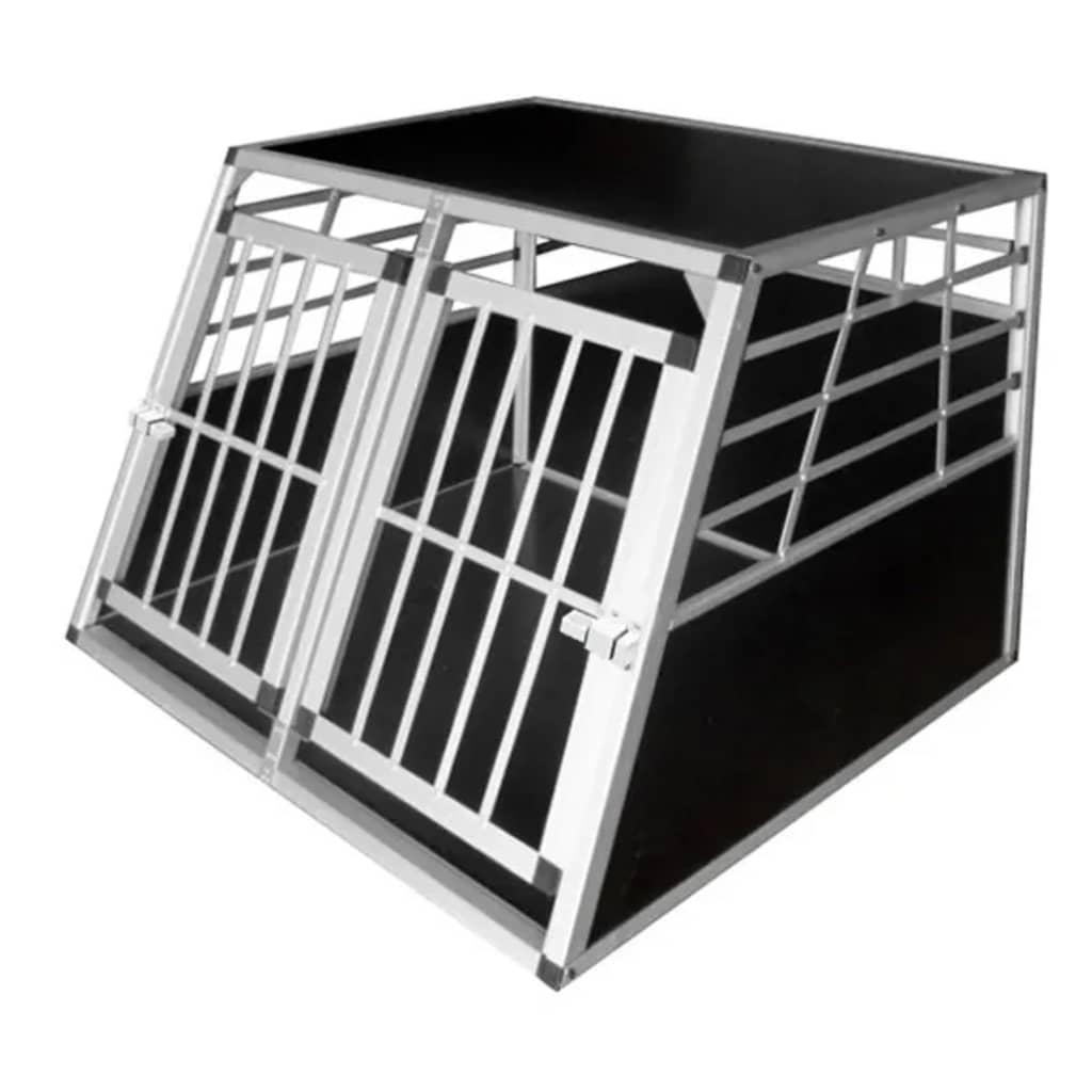 vidaXL Cușcă de transport pentru câini, cu ușă dublă, L, aluminiu poza vidaxl.ro