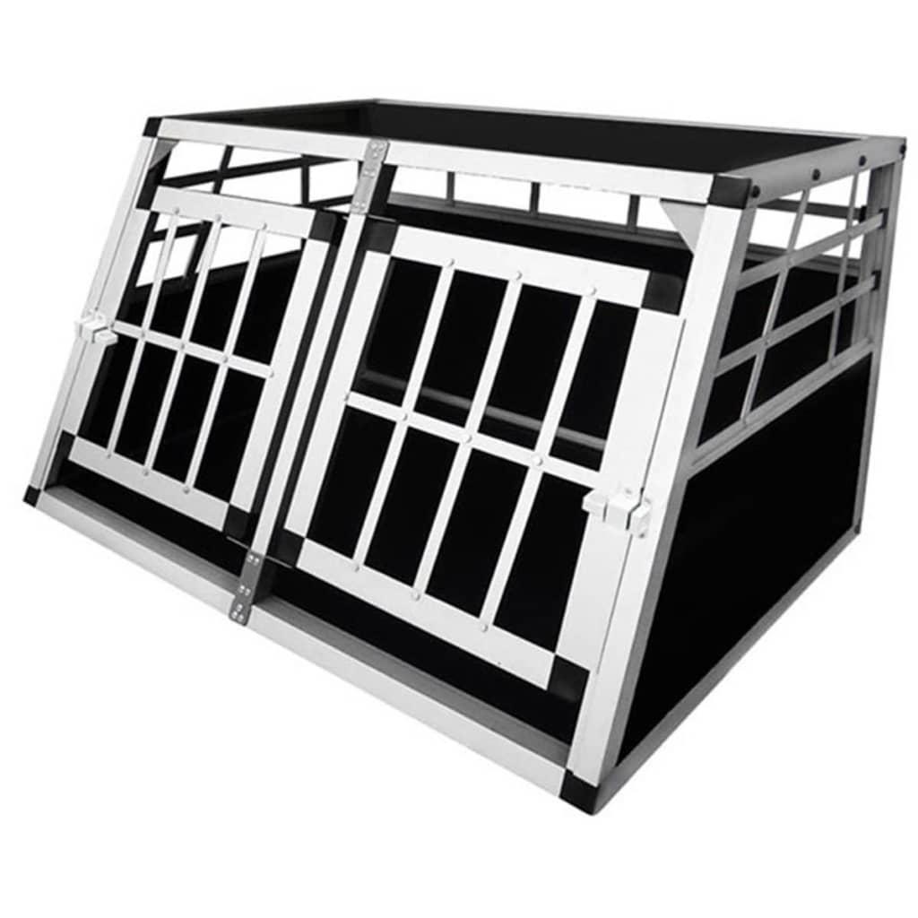 vidaXL Transportní box pro psy s dvojitými dvířka, velikost S, hliník