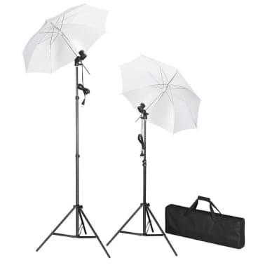 Kit de studio photo avec lampes pieds et parapluies[1/5]