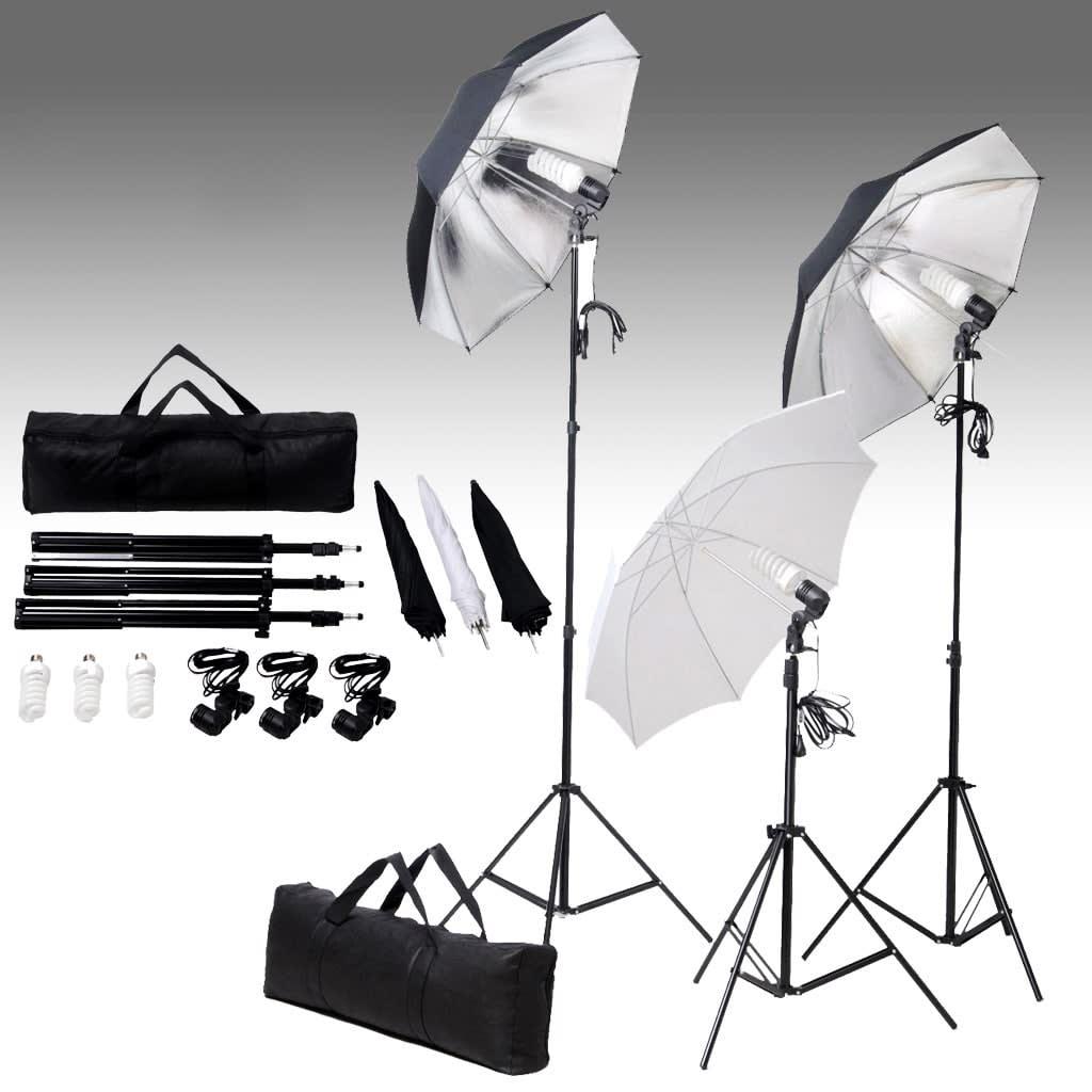 Set studiových světel 24 wattů, se stativy a deštníky