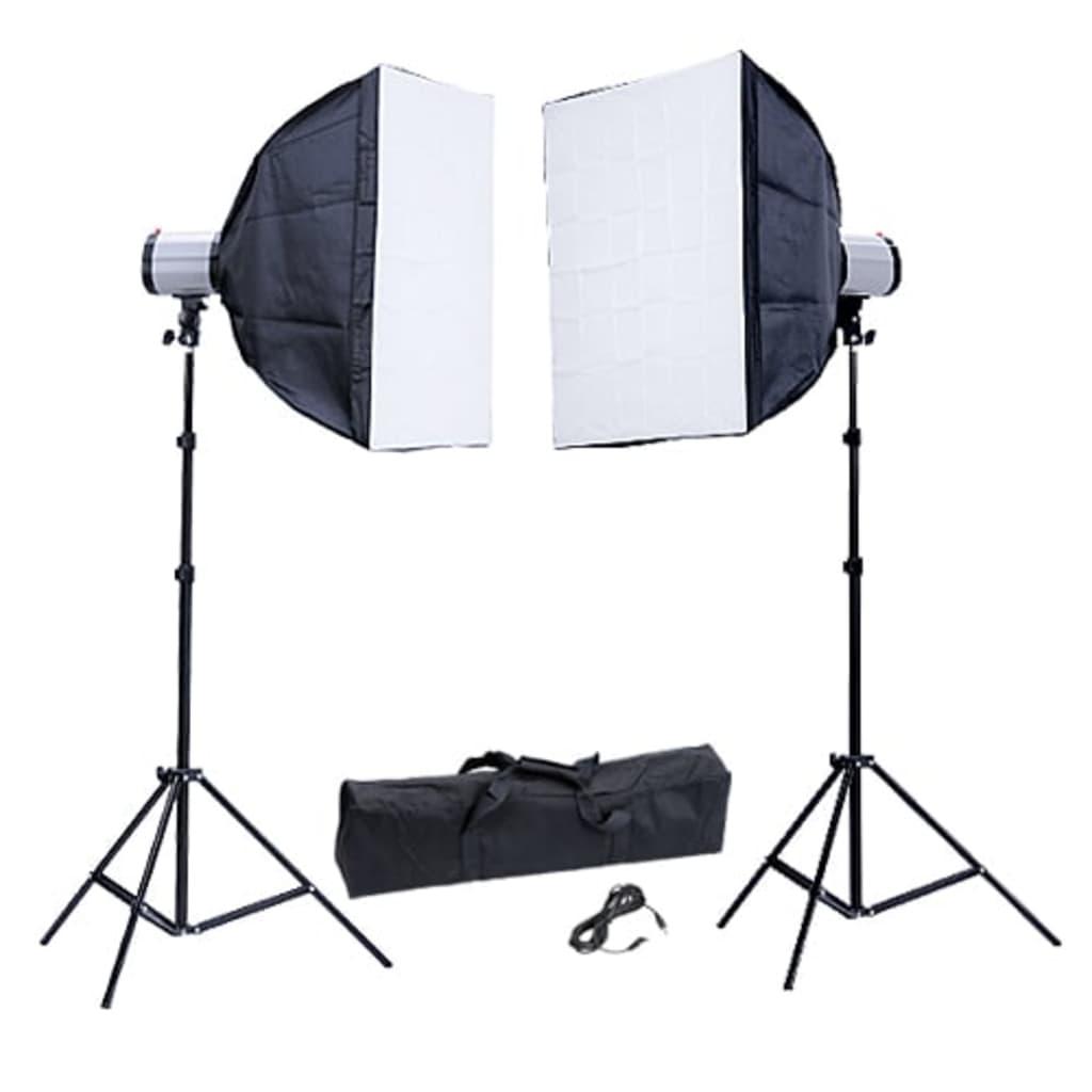 Afbeelding van vidaXL Fotostudio flitsset 2x flitser 120Ws 2x softbox 60 x 60 cm.