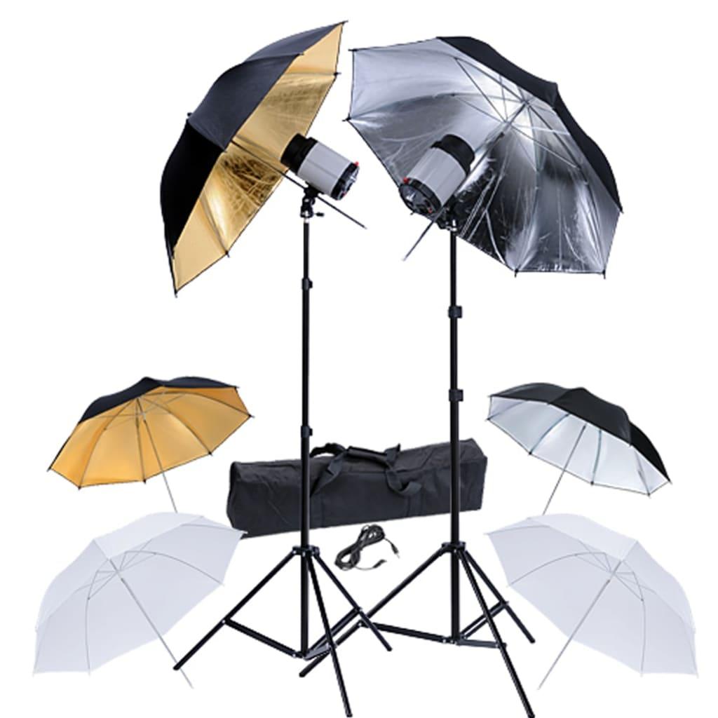 Studio set pro fotografy: 2 bleskové hlavy, 2 stativy, 6 deštníků