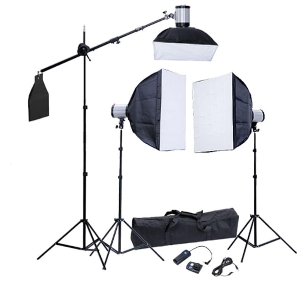 Afbeelding van vidaXL Fotostudio set 3 flitskoppen en softboxen 60 x 60